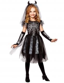 Skelett-Brautkostüm für Mädchen Halloweenkostüm schwarz