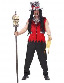 Voodoo-Priesterkostüm für Herren Halloweenkostüm rot-schwarz