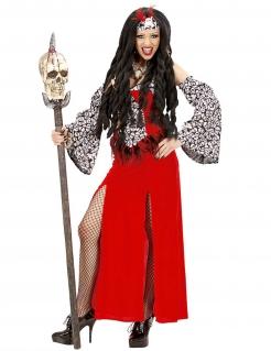 Voodoo-Priester-Kostüm für Damen Voodoopriesterin rot-weiss