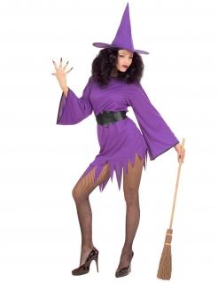Sexy Hexenkostüm für Damen Halloweenkostüm violett