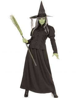 Langes Hexenkostüm Halloween-Kostüm für Damen schwarz