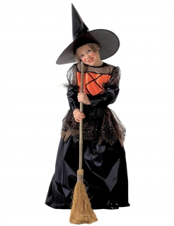 Elegantes Hexen-Kostüm für Kinder Halloweenkostüm schwarz-orange