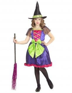 Farbenfrohes Hexen-Kostüm für Kinder Halloweenkostüm bunt
