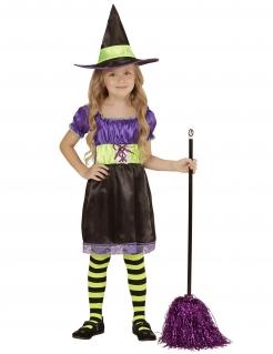 Bezauberndes Hexen-Kostüm für Kinder Halloween-Kostüm schwarz-violett