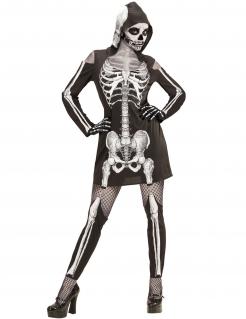 Sexy Skelett-Kleid mit Kapuze Halloween-Kostüm für Damen schwarz-weiss