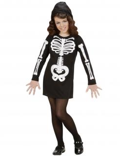 Skelett-Kostüm für Mädchen Halloween-Kostüm schwarz-weiss