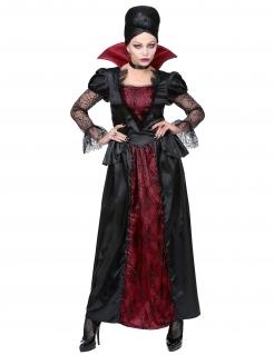 Elegante Vampir-Dame Kostüm für Frauen Halloweenkostüm schwarz-rot