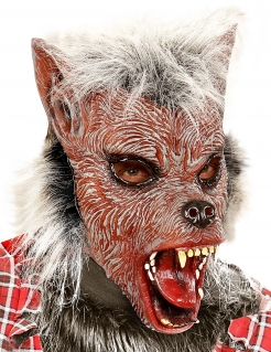 Werwolf-Kindermaske mit Fell Halloween bunt