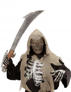 Verbrannter Skelettmeister Halbmaske für Kinder Halloween grau-beigefarben