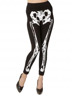 Skelett-Leggings für Damen Halloween-Accessoire schwarz-weiss