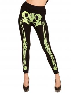 Skelett-Leggings für Damen Halloween-Accessoire neon schwarz-gelb