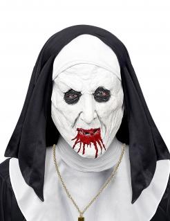 Horrornonnen-Halbmaske für Erwachsene weiß-schwarz-rot