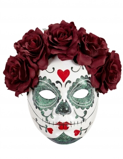 Tag der Toten-Maske mit Rosen für Damen Halloween-Maske weiss-rot