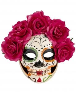 Tag der Toten-Maske mit Blumenkranz Halloween-Maske bunt
