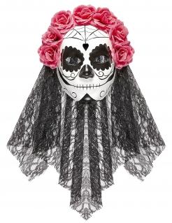 Dia de los Muertos-Maske für Erwachsene schwarz-weiß-rot