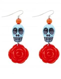 Totenkopf-Ohrringe Dia-de-los-Muertos-Accessoire blau-rot