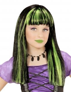 Hexen-Perücke für Mädchen Halloween-Accessoire schwarz-grün