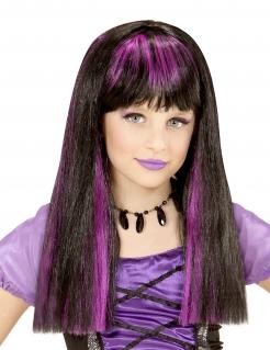 Schaurige Hexen-Perücke für Mädchen Halloween-Accessoire schwarz-lila