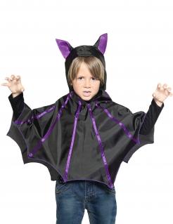 Fledermaus-Poncho für Kinder Halloween-Kostüm schwarz-lila