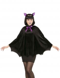 Fledermaus-Poncho für Damen Fledermaus-Kostüm für Halloween schwarz