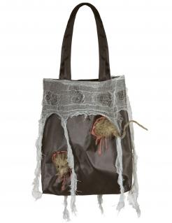 Halloween-Tasche mit Ratte Hexen-Accessoire schwarz-grau 52x24x4cm