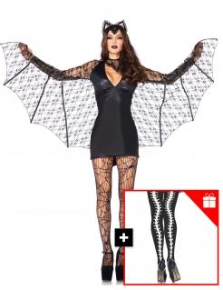 Sexy Fledermaus-Kostüm für Damen mit gratis Strumpfhose Halloweenkostüm schwarz