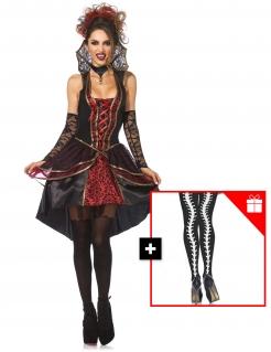 Schaurig-schönes Vampir-Kostüm für Damen mit gratis Strumpfhose Halloween-Kostüm schwarz-rot