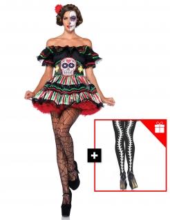 Schickes Día de los Muertos-Damenkostüm mit gratis Strumpfhose Halloween-Kostüm bunt