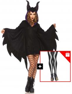 Böse Zauberin Damenkostüm mit gratis Strumpfhose Halloweenkostüm schwarz