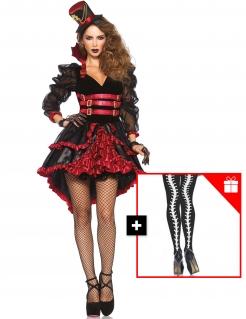 Steampunk-Vampirkostüm mit gratis Strumpfhose Halloween-Kostüm rot-schwarz