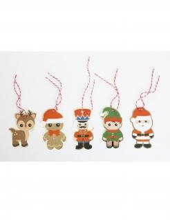 Geschenk-Anhänger Namenschild für Weihnachten 10 Stück 8 x 4 cm bunt