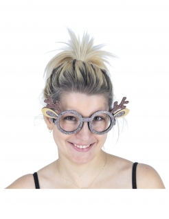 Rentier-Brille Partybrille für Weihnachten silber-braun
