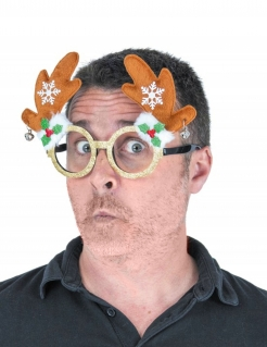 Rentier-Brille Weihnachts-Accessoire braun-grün-rot