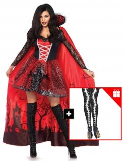 Sexy Vampir-Damenkostüm mit gratis Strumpfhose Halloweenkostüm rot-schwarz