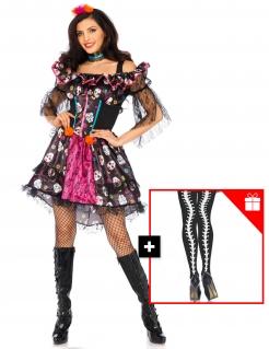 Tag der Toten-Damenkostüm mit gratis Strumpfhose Halloweenkostüm bunt