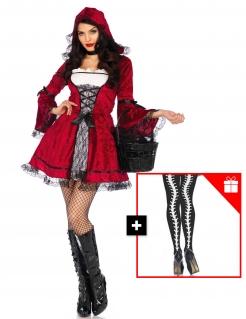 Rotkäppchen-Kostüm für Damen mit gratis Strumpfhose rot-weiss