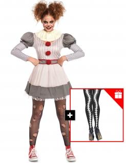 Grusel-Clownkostüm für Damen mit gratis Strumpfhose Halloweenkostüm grau-rot