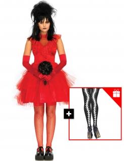 Gothic-Brautkostüm für Damen mit Strumpfhose Halloweenkostüm rot-schwarz