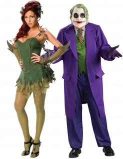 Joker™ und Poison Ivy™-Paarkostüm für Erwachsene grün-lila