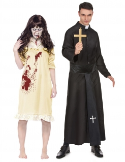 Exorzist und Besessene Paarkostüm für Erwachsene Halloweenkostüm schwarz-gelb