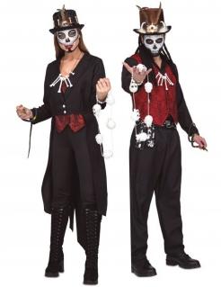 Voodoo-Paarkostüm für Erwachsene Halloween-Paarkostüm schwarz-rot