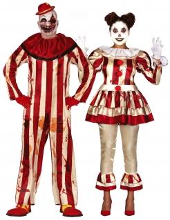 Horrorclown-Paarkostüm für Erwachsene Halloween-Kostüm rot-beige