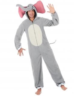 Elefanten-Kostüm für Herren Faschingskostüm grau-weiss-rosa