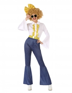 70er Jahre Disco-Kostüm für Damen Karnevalskostüm blau-weiss