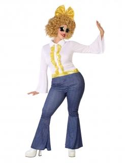 Disco-Kostüm für Damen in Übergröße Karnevalskostüm blau-weiss