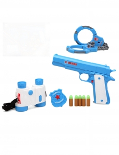 Polizisten-Set Polizei-Accessoire-Set 5-teilig blau-weiss-rot