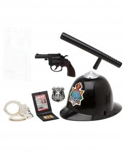 Polizei-Set Polizisten-Accessoire-Set 6-teilig schwarz