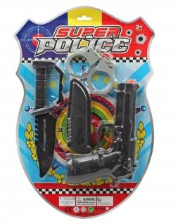 Umfangreiche Polizeiausrüstung für Kinder 4-teilig schwarz-grau