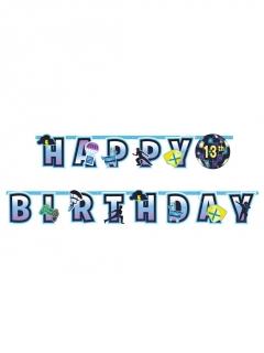 Videospiel-Geburtstag-Girlande blau-lila-gelb personalisierbar 26 x 320 cm