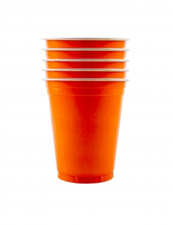 Amerikanische Trinkbecher gross Partydeko 20 Stück orange 530 ml